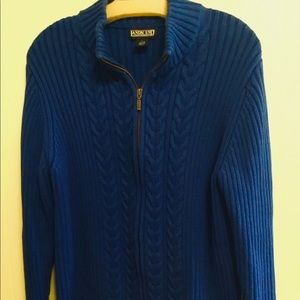 Lands' End royal blue sweater zip front cardigan